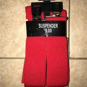 Red adjustable suspenders for men or women
